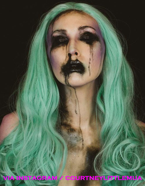 Evil Mermaid Halloween Makeup Green Wig