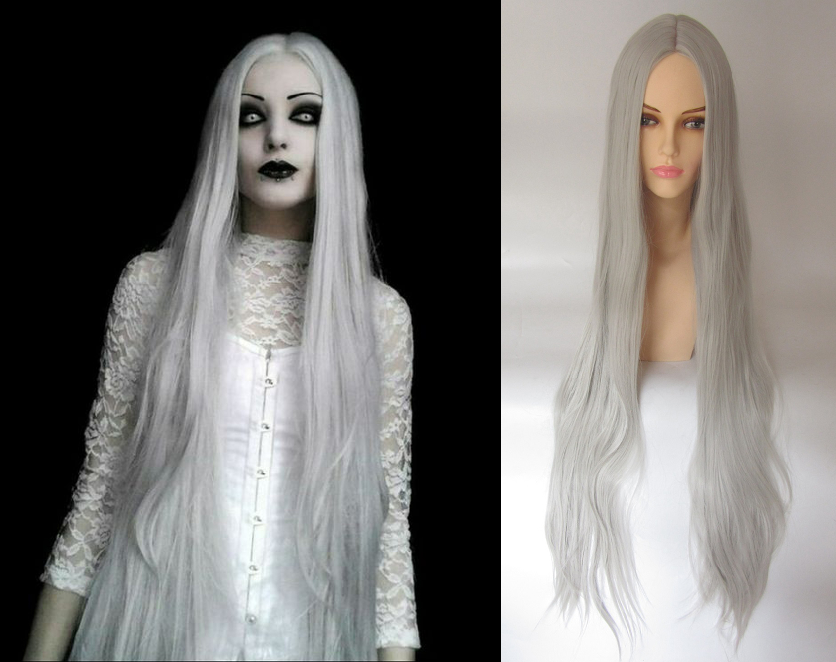 Long White Ghost Costume Wig
