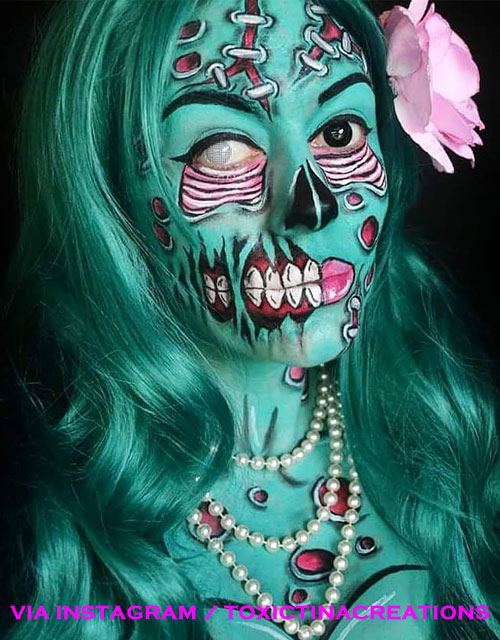 Green Pop Art Zombie Makeup