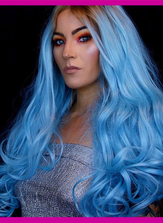 Lace Front Wig Blue Pastel