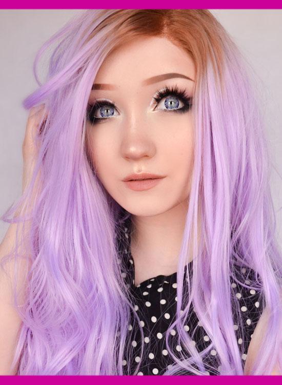 Lace Front Wig Pastel Purple
