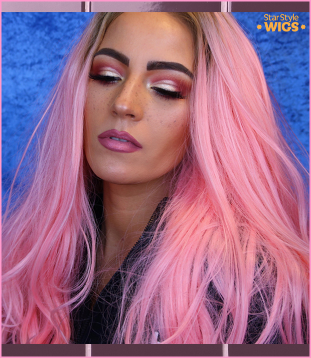 Long Pink Wig Lace Front