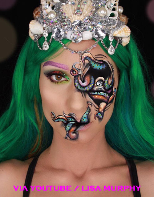 Mermaid Makeup Face Paint Green Hair