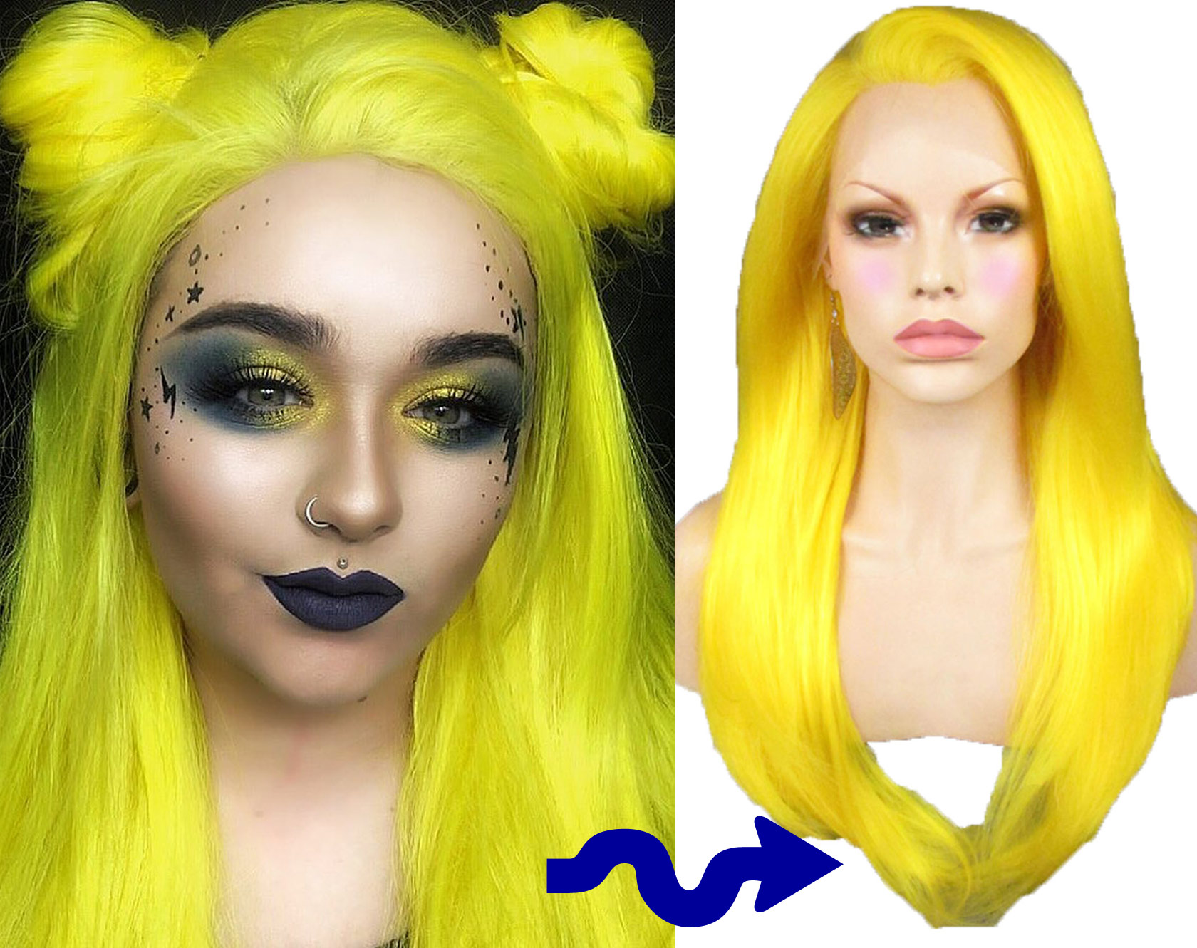 Neon Yellow Wig Lace Front Festival