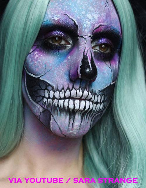 Pastel Skull Makeup Green Wig
