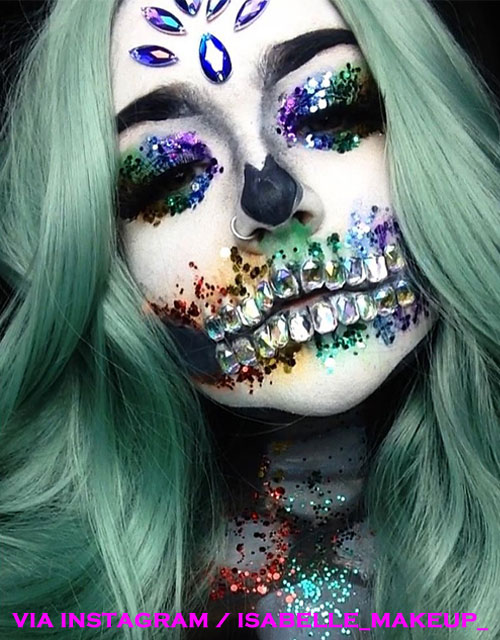 Rainbow Skull Makeup Green Wig