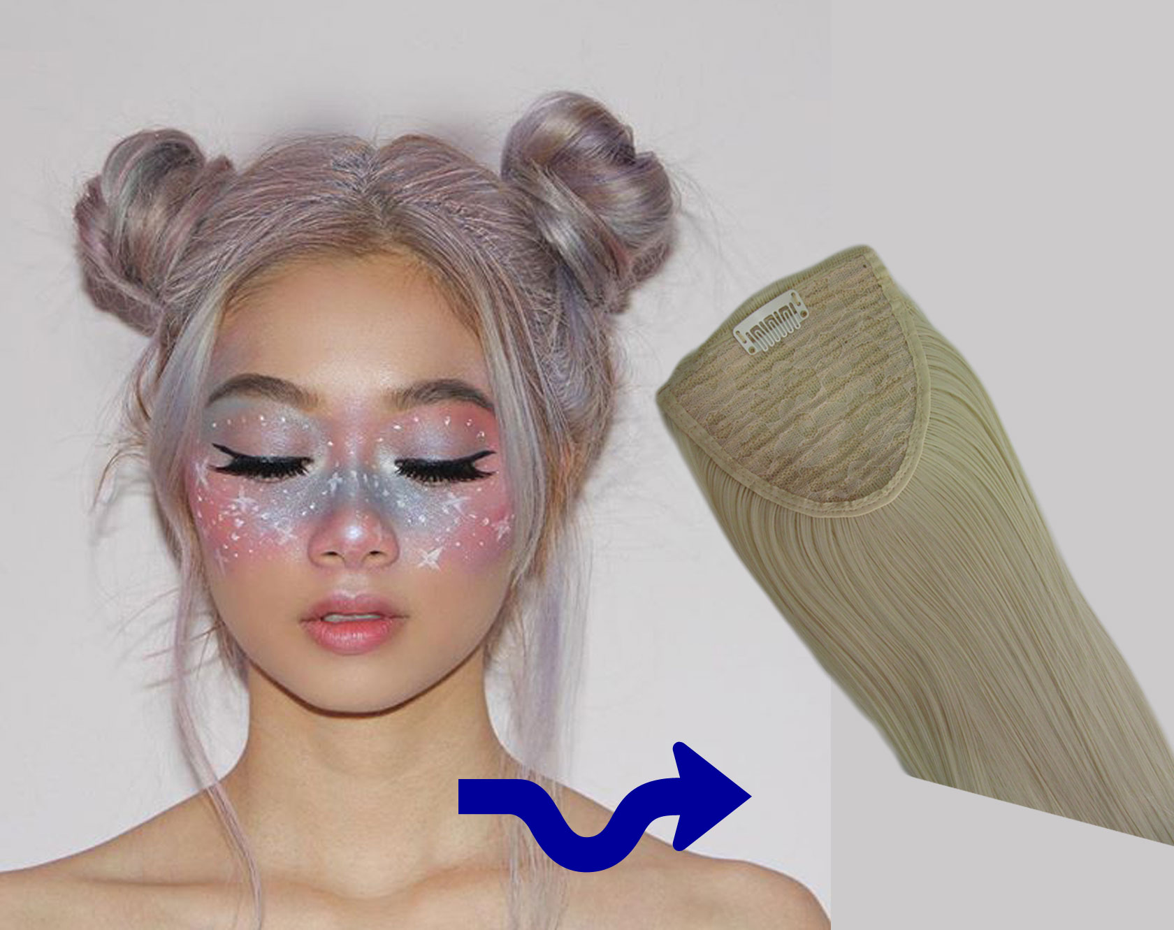 Space Buns Clip In Ponytails Festival