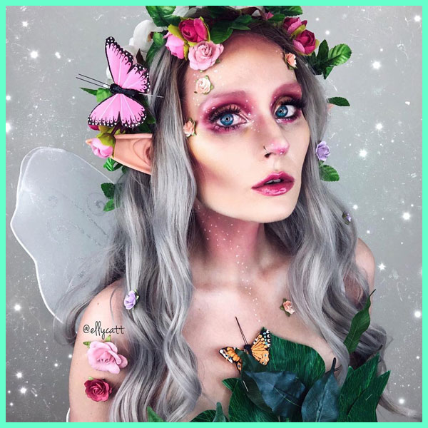 Silver Lace Front Wig Fairy Makeup