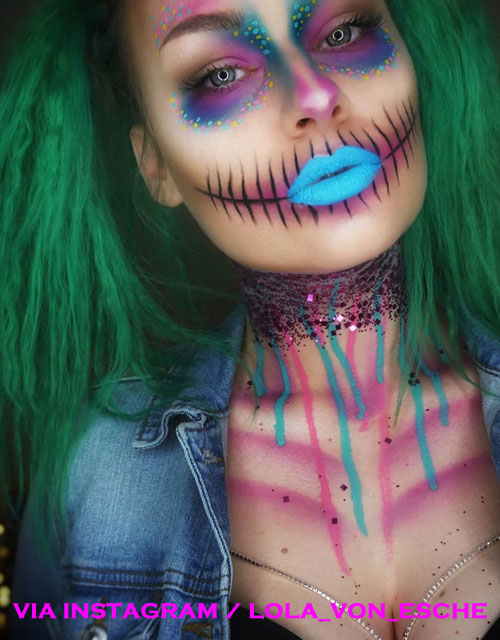 Sugar Skull Makeup Green Hair